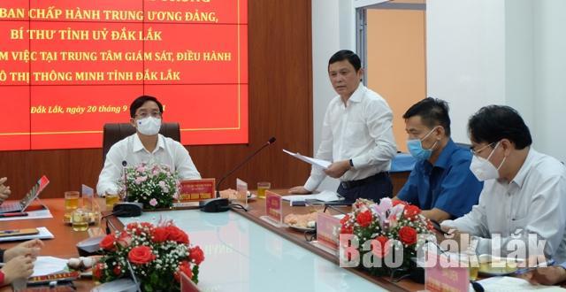 Phó Chủ tịch Thường trực UBND tỉnh Nguyễn Tuấn Hà phát biểu tại buổi làm việc với Dak Lak IOC