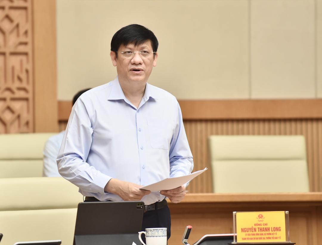 Bộ trưởng Bộ Y tế Nguyễn Thanh Long phát biểu tại cuộc họp - Ảnh: VGP