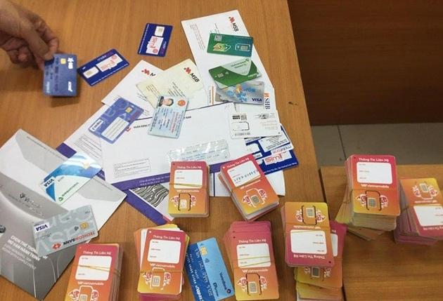 Số sim điện thoại chứa thông tin tài khoản mở tại các ngân hàng bị thu giữ.(Nguồn: thanhtra.com.vn).