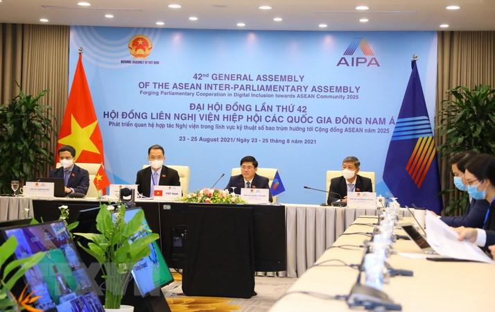 Đoàn đại biểu Quốc hội Việt Nam dự Phiên họp Ủy ban Xã hội. (Ảnh: Nguyễn Điệp/TTXVN)
