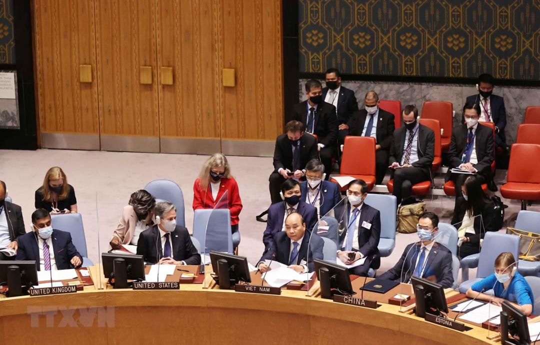 Chủ tịch nước Nguyễn Xuân Phúc phát biểu tại Phiên họp cấp cao của Hội đồng Bảo an Liên hợp quốc về an ninh khí hậu. (Ảnh: Thống Nhất/TTXVN)