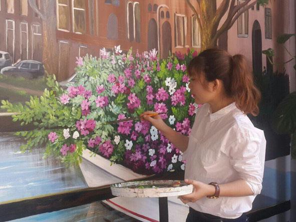 Kim Anh Art hoàn thành bức tranh tường 3D. (Ảnh nhân vật cung cấp)